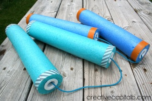 Easy Pool Noodle Nunchucks_quick DIY toy #boyswillbeboys